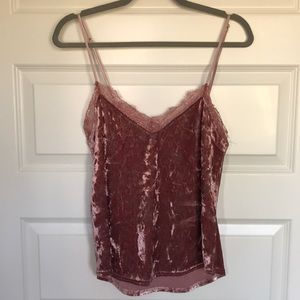 Crushed velvet and lace tank
